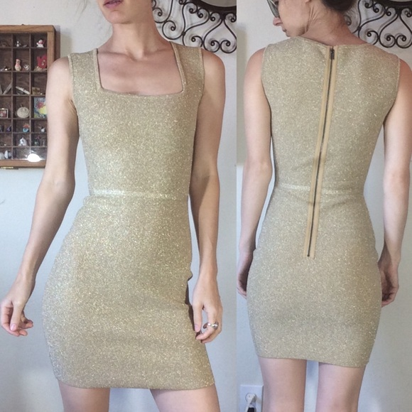 BCBGMaxAzria Dresses & Skirts - Gold ✨ Sparkle Holiday BodyCon Mini Dress